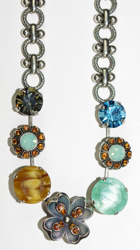 "MARIANA NECKLACE FORGET ME NOT: green, amber, pacific opal, blue stones in silver setting, 18"" adjustable chain"