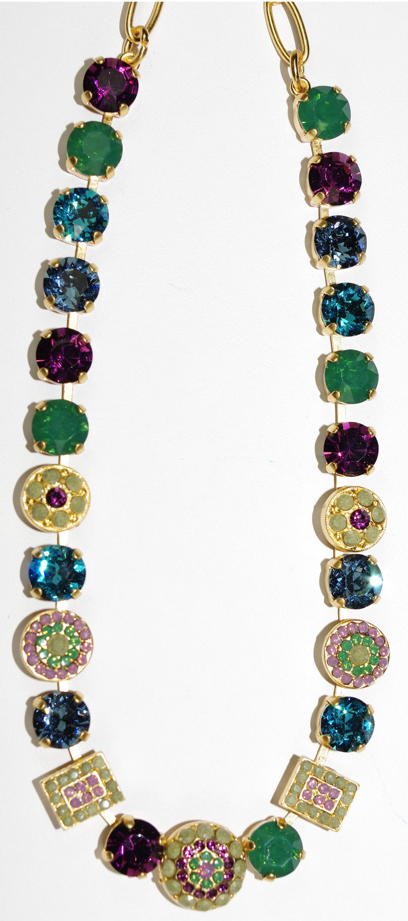 "MARIANA NECKLACE PATIENCE: green, purple, blue stones in yellow gold setting, 18"" adjustable chain"