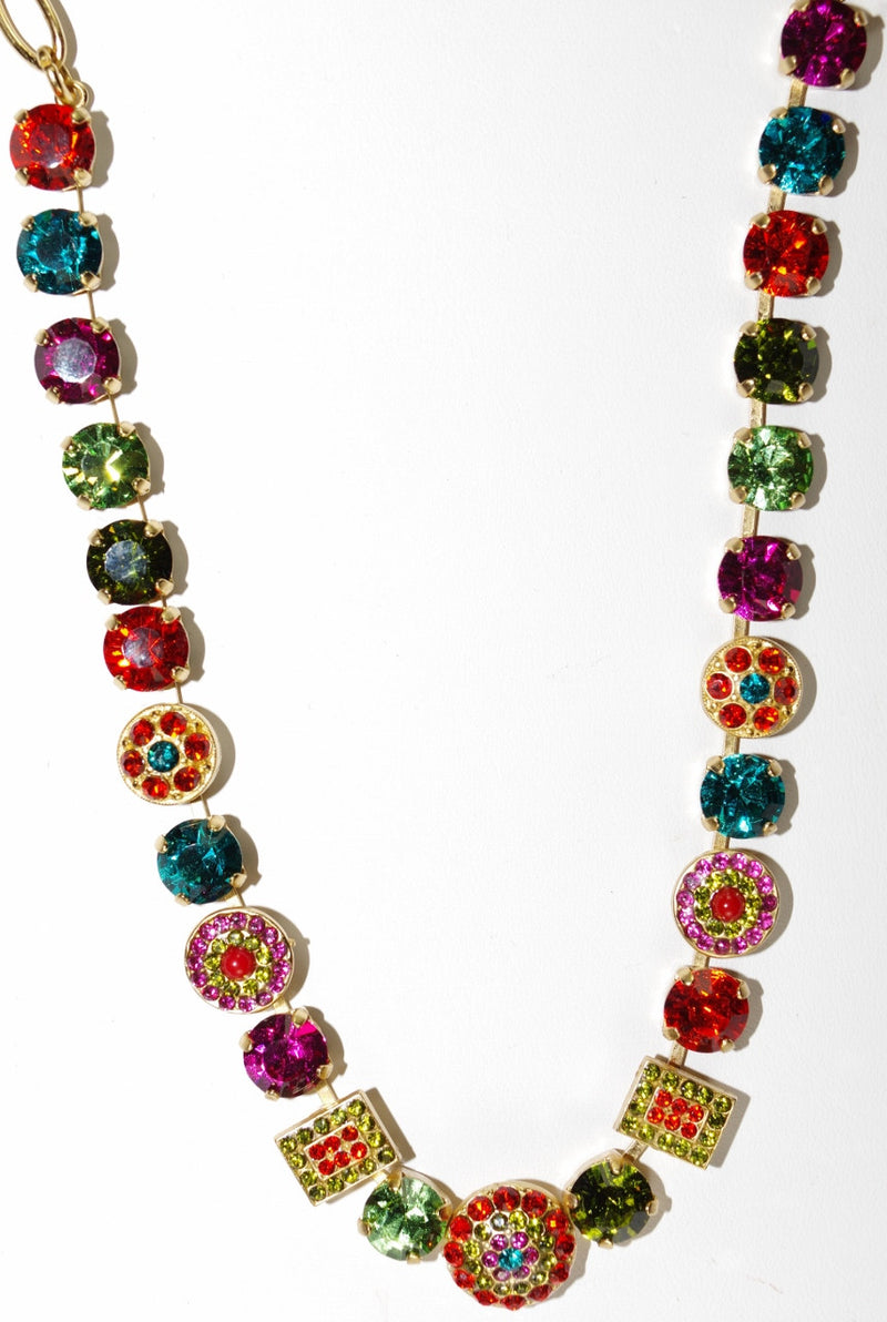 MARIANA NECKLACE TIGER LILY:  pink, blue, green, orange stones in yellow gold setting