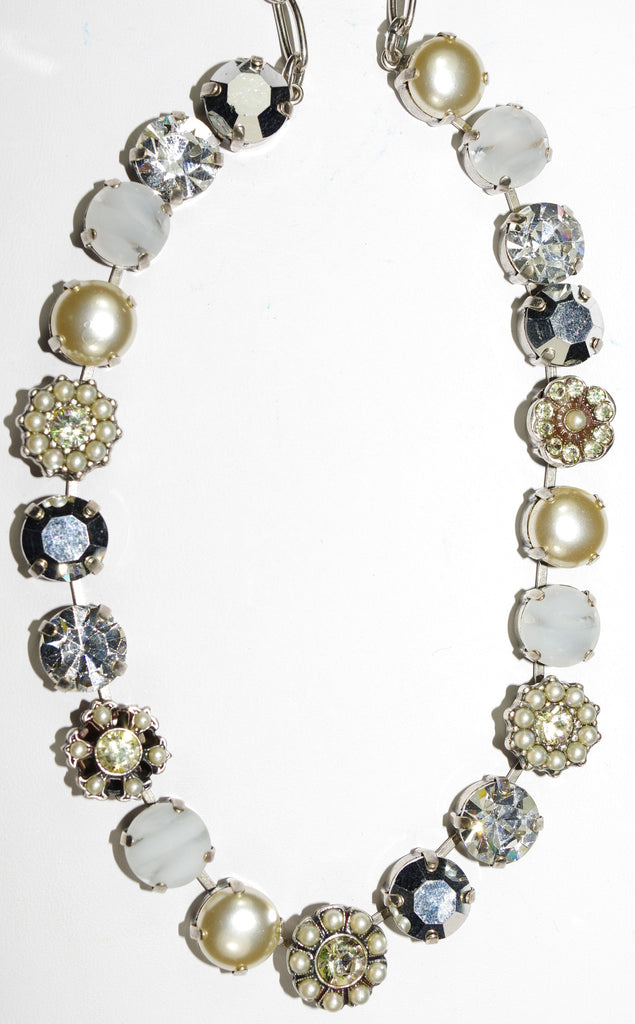 "MARIANA NECKLACE CASABLANCA: white, pearl, silver, clear stones in silver setting, 16"" adjustable chain"