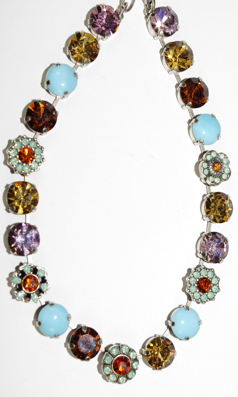 "MARIANA NECKLACE FRIENDSHIP: amber, lavender, pacific opal, orange stones in silver setting, 18"" adjustable chain"