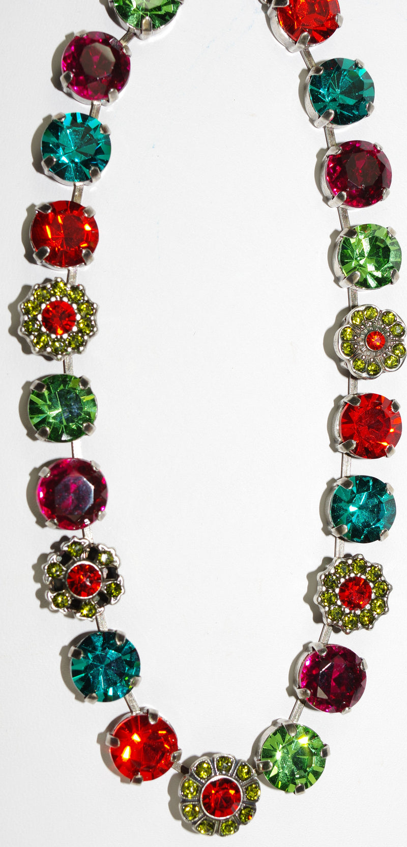 "MARIANA NECKLACE TIGER LILLY: orange, fuschia, blue, green stones in silver setting, 16"" adjustable chain"