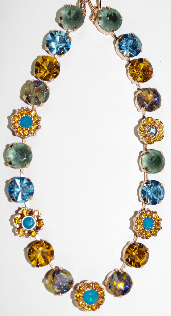 "MARIANA NECKLACE JASMINE: blue, amber stones in rose gold setting, 18"" adjustable chain"