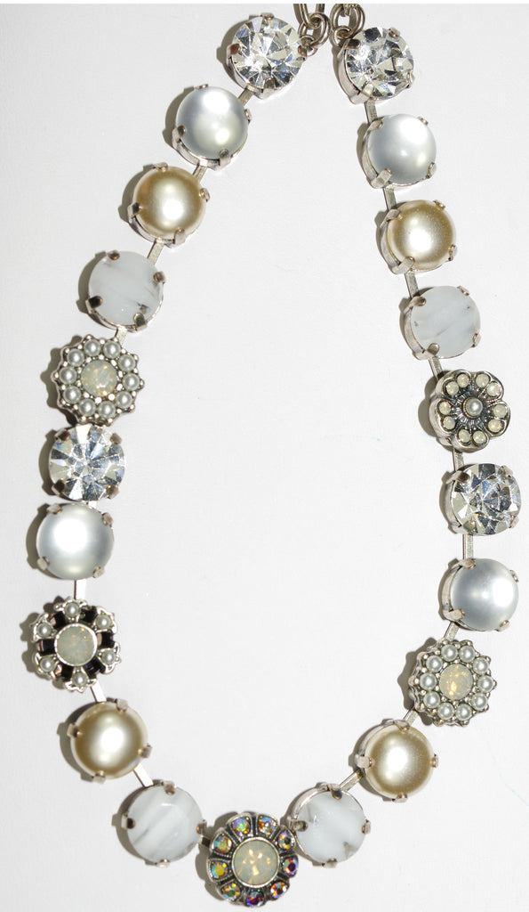 "MARIANA NECKLACE MAGNOLIA: white, clear, pearl, a/b stones in silver setting, 18"" adjustable chain"