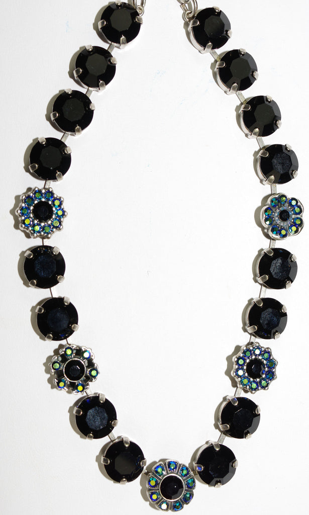 "MARIANA NECKLACE GREASED LIGHTNING: black, blue, a/b stones in silver setting, 17"" adjustable chain"