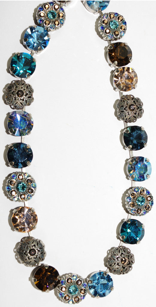 "MARIANA NECKLACE BLUE SUEDE SHOES: blue, topaz, gold, amber stones in silver setting, 17"" adjustable chain"
