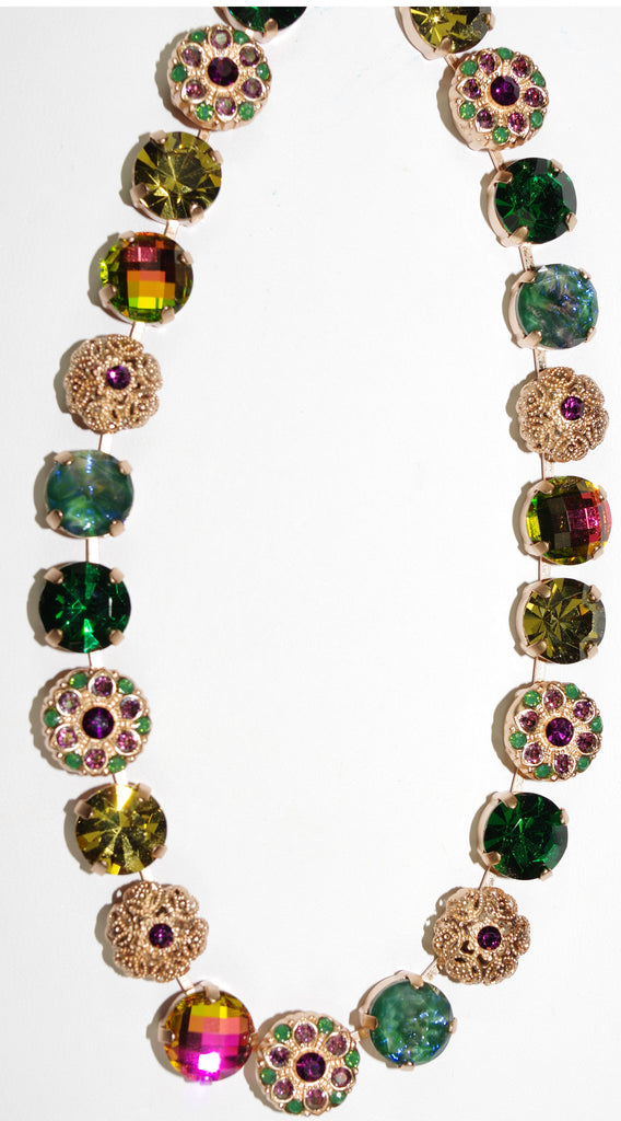 MARIANA NECKLACE LUCK pink, green purple stones in rose gold setting