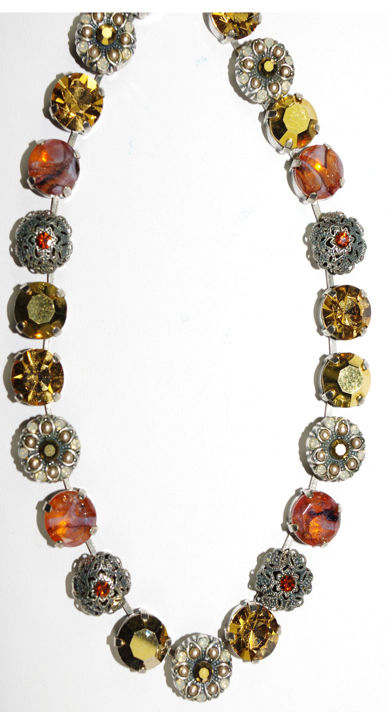"MARIANA NECKLACE GOLDEN SAND: rust, gold, topaz, orange stones in silver setting, 18"" adjustable chain"