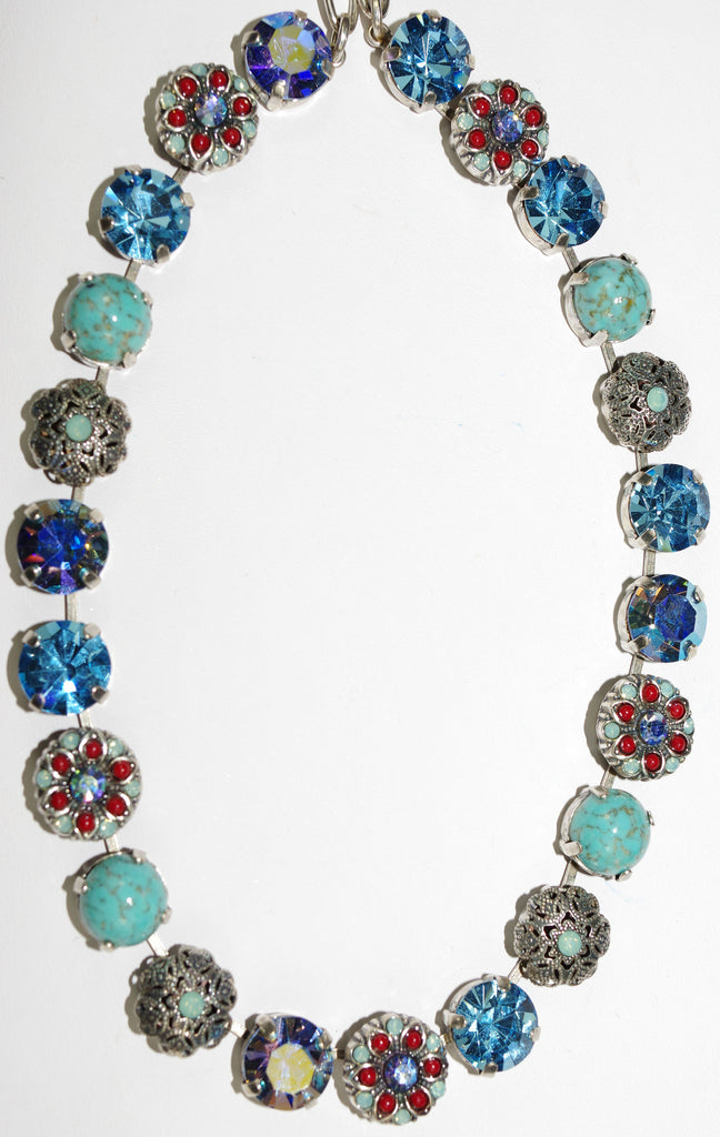 "MARIANA NECKLACE: red, turq, blue, a/b stones in silver setting, 18"" adjustable chain"