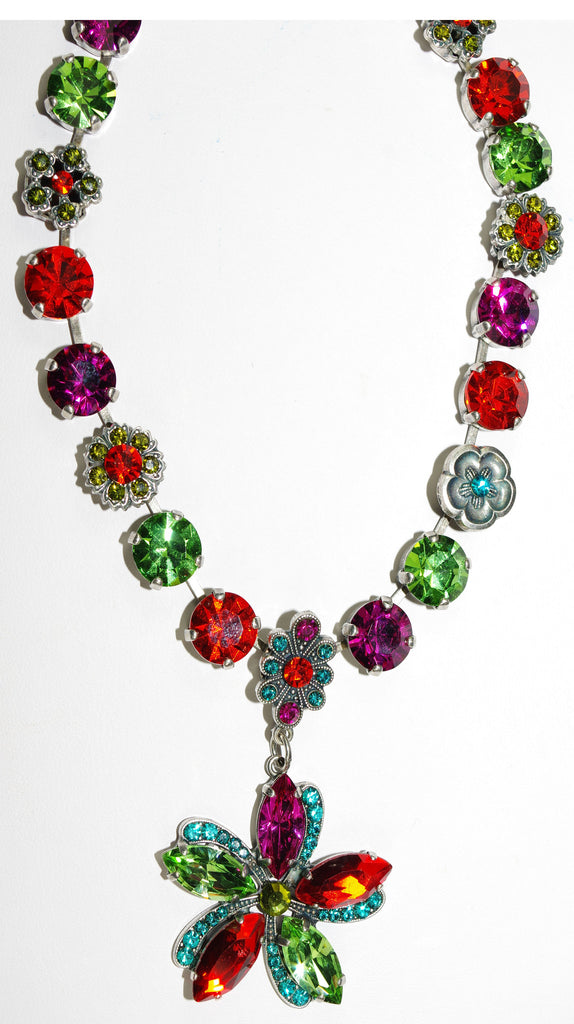 "MARIANA NECKLACE TIGER LILLY: orange, fuschia, green, blue stones in silver setting, 20"" adjustable chain"