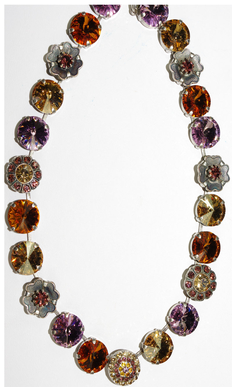 "MARIANA NECKLACE DREAM pink, amber, topaz stones in silver setting, 18"" adjustable chain"