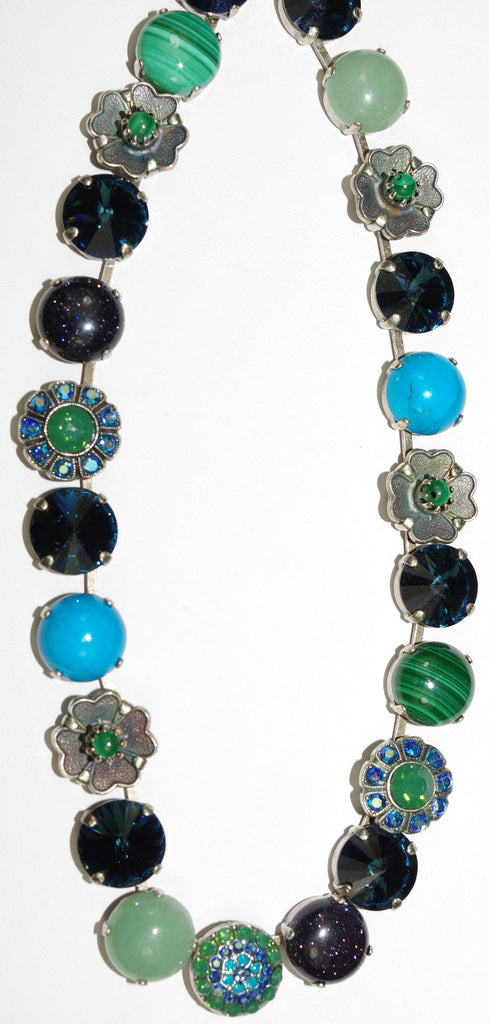 "MARIANA NECKLACE MEDITTERANEAN: blue, green, pacific opal, stones in silver setting, 18"" adjustable chain"