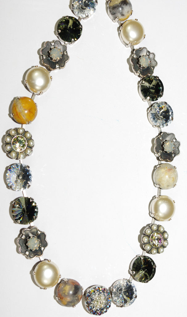 "MARIANA NECKLACE CASABLANCA: white, pearl, clear, amber, taupe stones in silver setting, 18"" adjustable chain"
