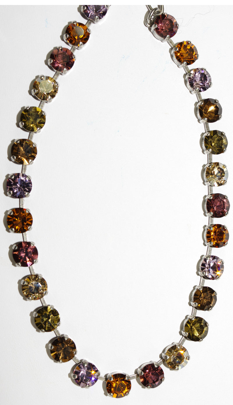 "MARIANA NECKLACE BETTE DREAM: pink, amber, purple 1/4"" stones in silver setting, 17"" adjustable chain"