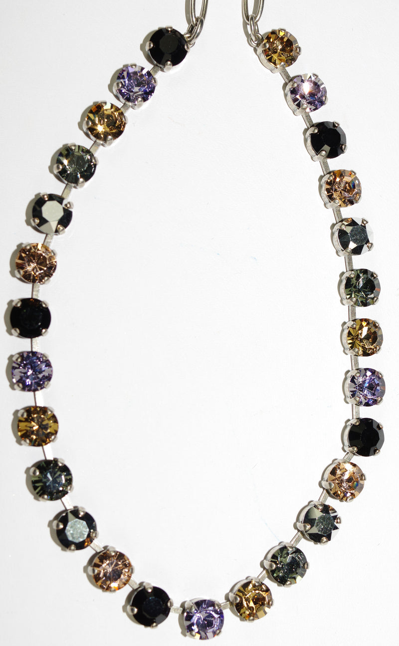 "MARIANA NECKLACE DISCOVER BETTE: pink, black, amber, taupe stones in silver setting, 18"" adjustable chain"