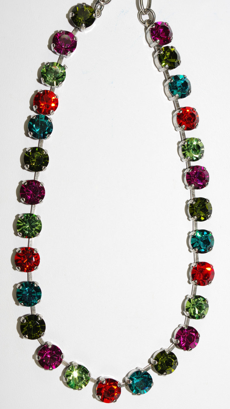 "MARIANA NECKLACE TIGER LILLY BETTE: orange, fuschia, blue, green 1/4"" stones in silver setting, 17"" adjustable chain"