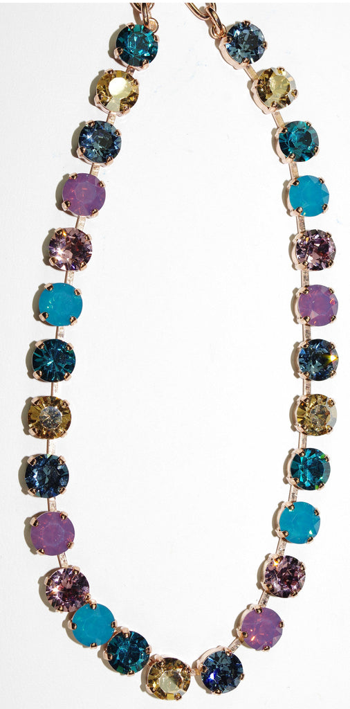 "MARIANA NECKLACE SERENTIY: pink, blue, amber stones in rose gold setting, 18"" adjustable chain"
