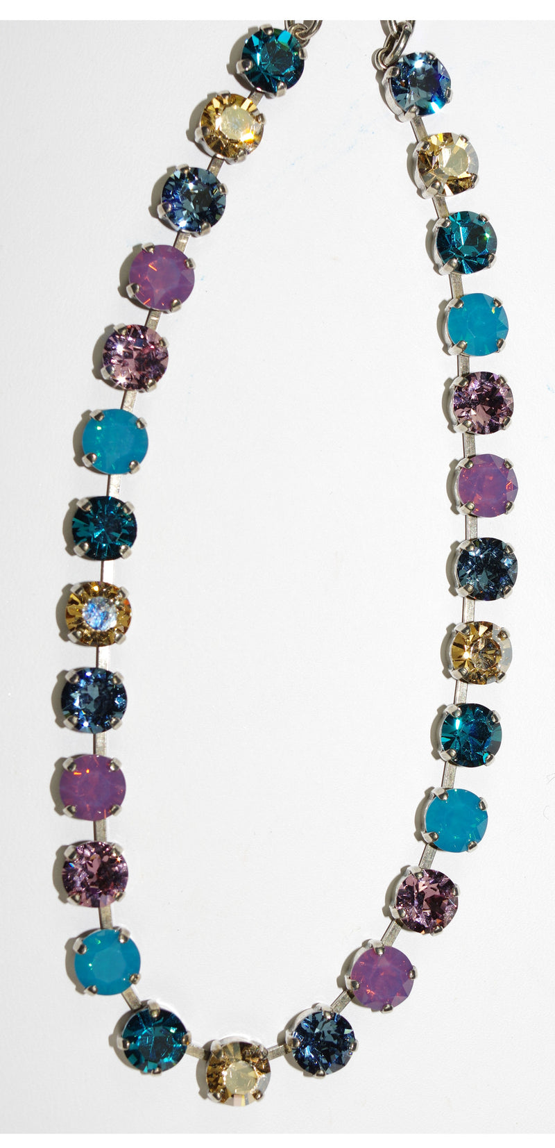 MARIANA NECKLACE SERENITY BETTE: blue, pink, lavender, amber stones in silver setting, adjustable chain