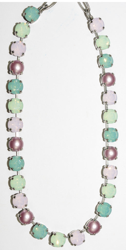 "MARIANA NECKLACE MORNING GLORY: pink, green, pearl, pacific opal stones in silver setting, 16"" adjustable chain"