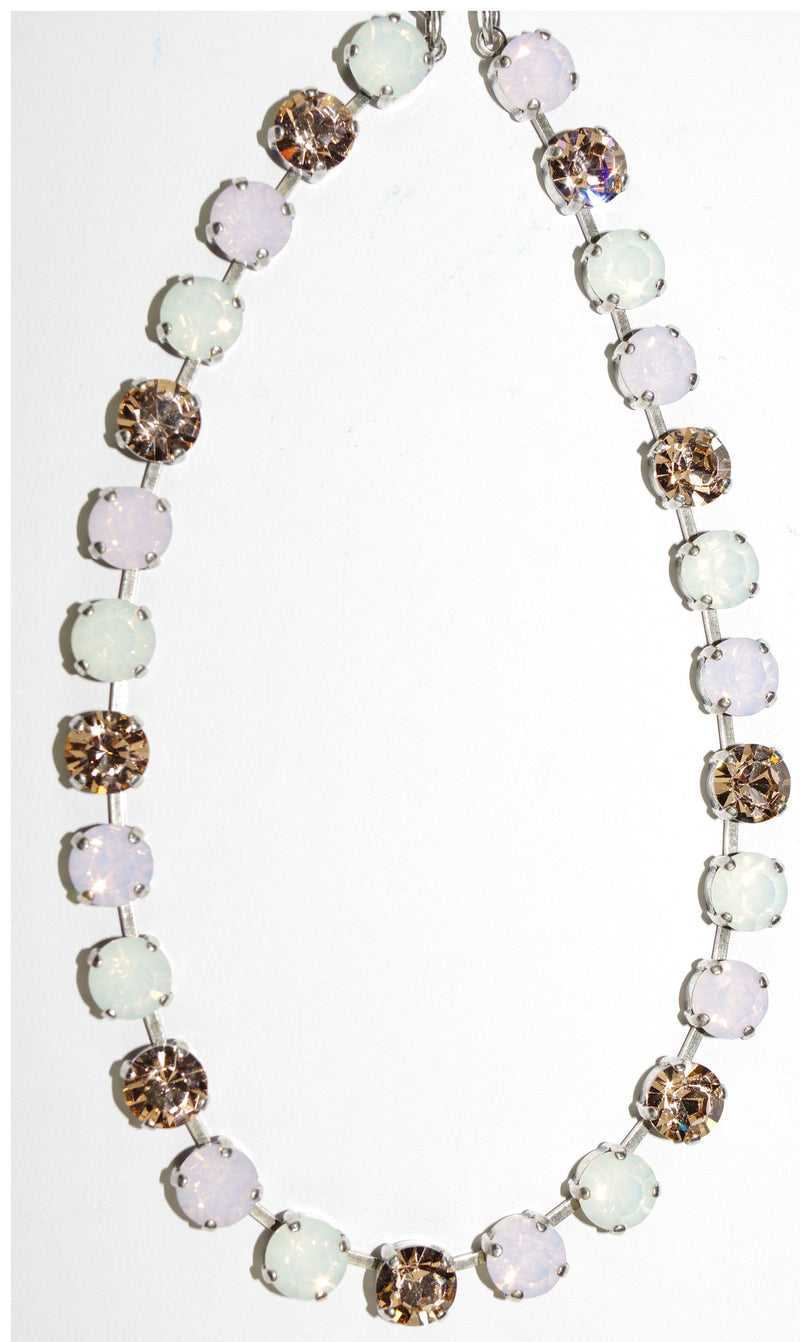 "MARIANA NECKLACE TIARA DAY BETTE: pink, amber, moon, 1/4"" stones in silver setting, 17"" adjustable chain"