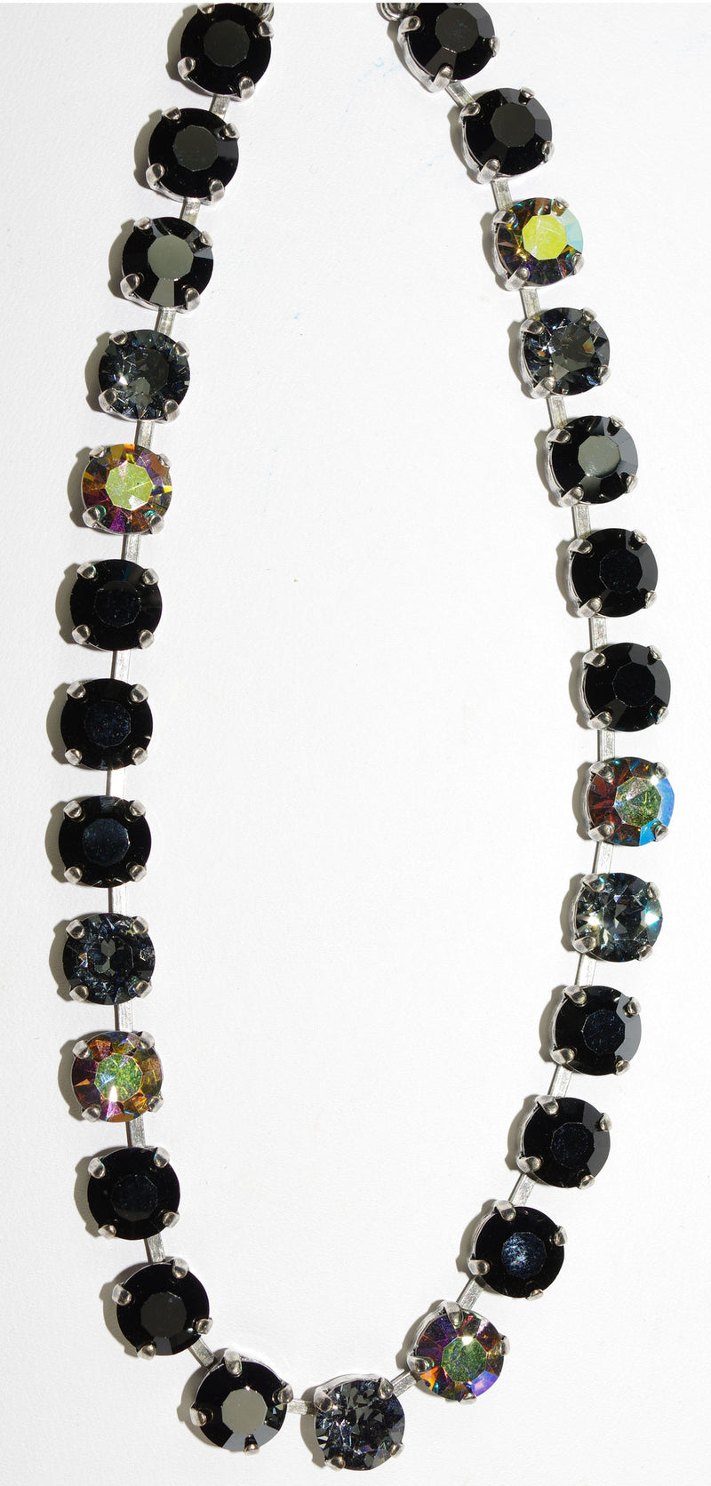 "MARIANA NECKLACE BETTE GREASED LIGHTNING: black, a/b, grey 1/4"" stones in silver setting, 17"" adjustable chain"