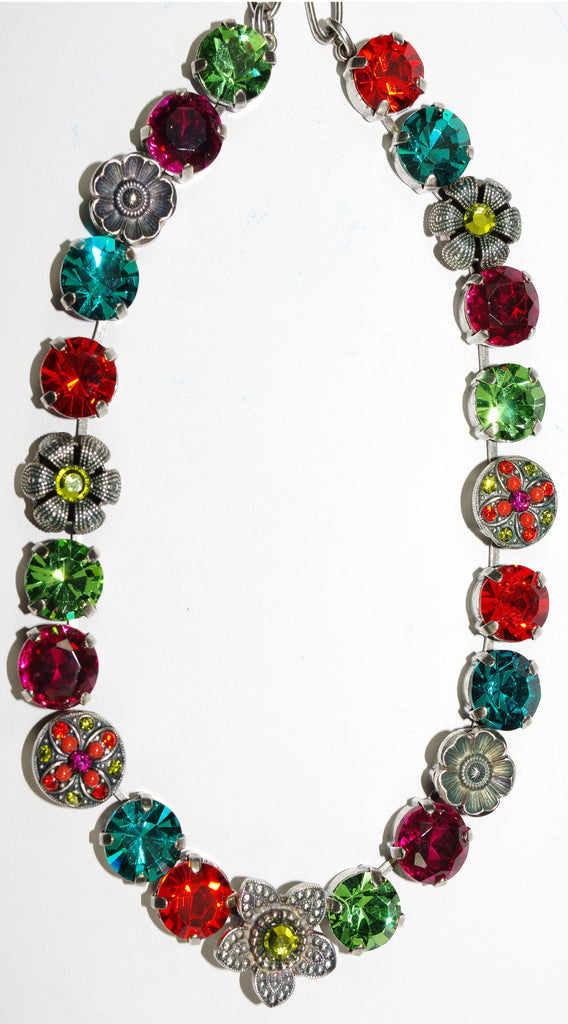 "MARIANA NECKLACE TIGER LILLY: orange, fuschia, blue, green stones in silver setting, 18"" adjustable chain"
