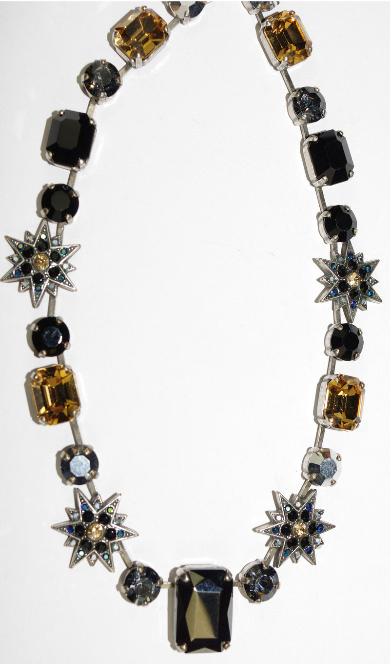 "MARIANA NECKLACE BLACK: black, amber, silver stones in silver setting, 17"" adjustable chain"