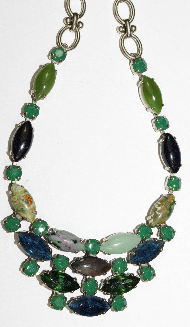 "MARIANA NECKLACE EMERALD CITY: green, blue, pacific opal stones in silver setting, 18"" adjustable chain"