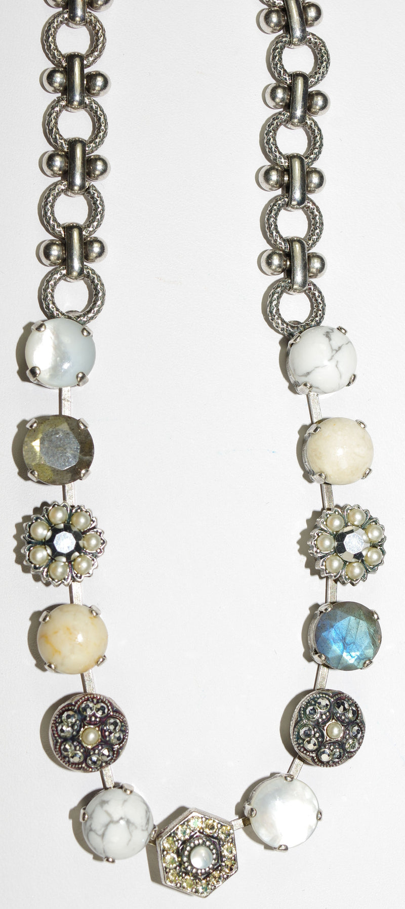 "MARIANA NECKLACE CASABLANCA DIANA: white, beige, grey, amber, pearl stones in silver setting, 18"" adjustable chain"