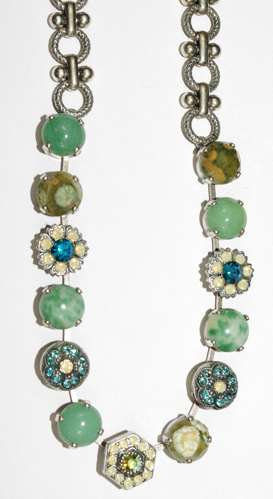 "MARIANA NECKLACE GRACE: green, teal, white, pacific opal stones in silver setting, 19"" adjustable chain"