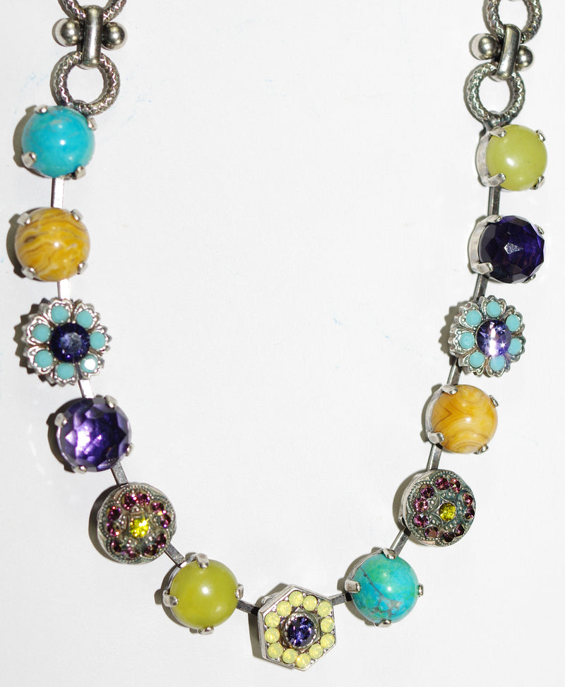 MARIANA NECKLACE HAPPINESS DIANA: purple, yellow, turq, green stones in silver setting