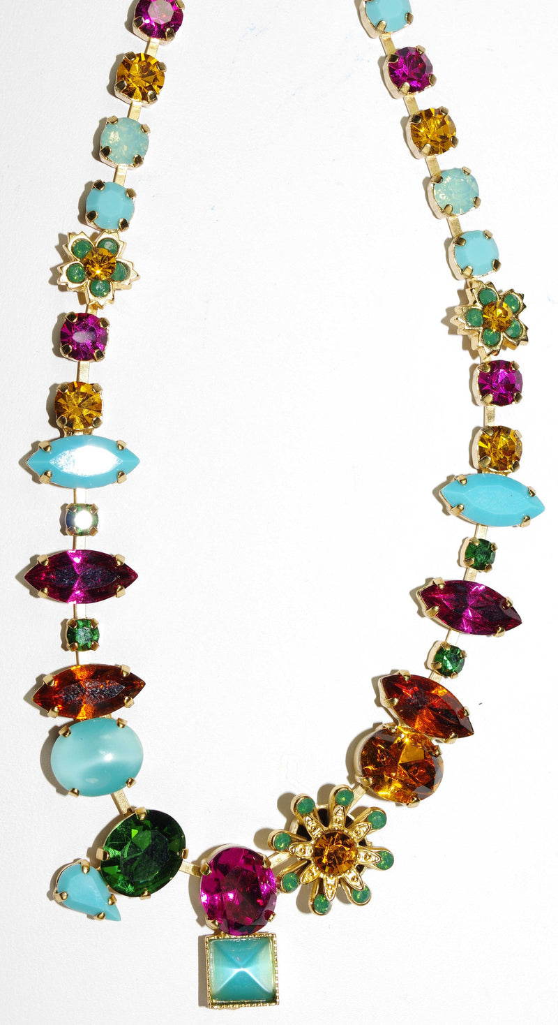 "MARIANA NECKLACE HAPPY DAYS: turq, fucshia, topaz, amber, pacific opal, green stones in yellow gold setting, 18"" adjustable chain"