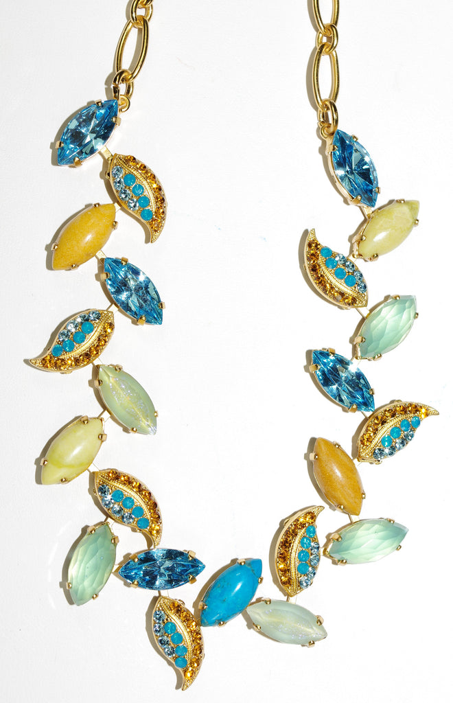 "MARIANA NECLACE JASMINE: blue, pacific opal, amber, gold stones in yellow gold setting, 18"" adjustable chain"