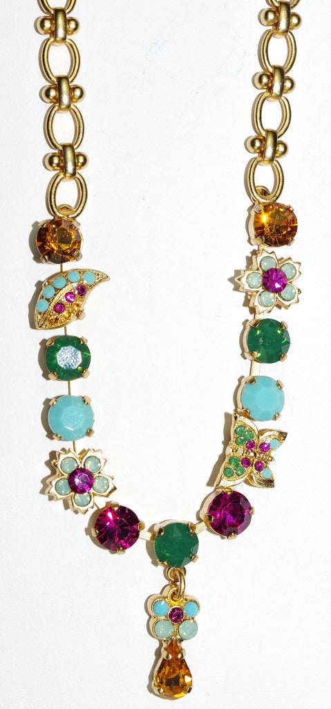 "MARIANA NECKLACE HAPPY DAYS: turq, fucshia, green, amber, pacific opal in yellow gold setting, 20"" adjustable chain"