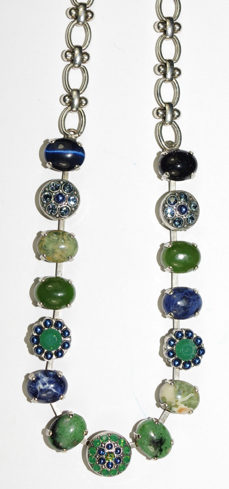 "MARIANA NECKLACE EMERALD CITY: green, blue stones in silver setting, 20"" adjustable chain"
