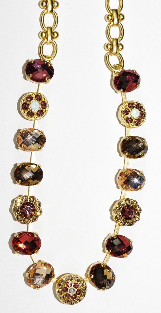 MARIANA NECKLACE KATE burgundy, amber, taupe stones in yellow gold setting