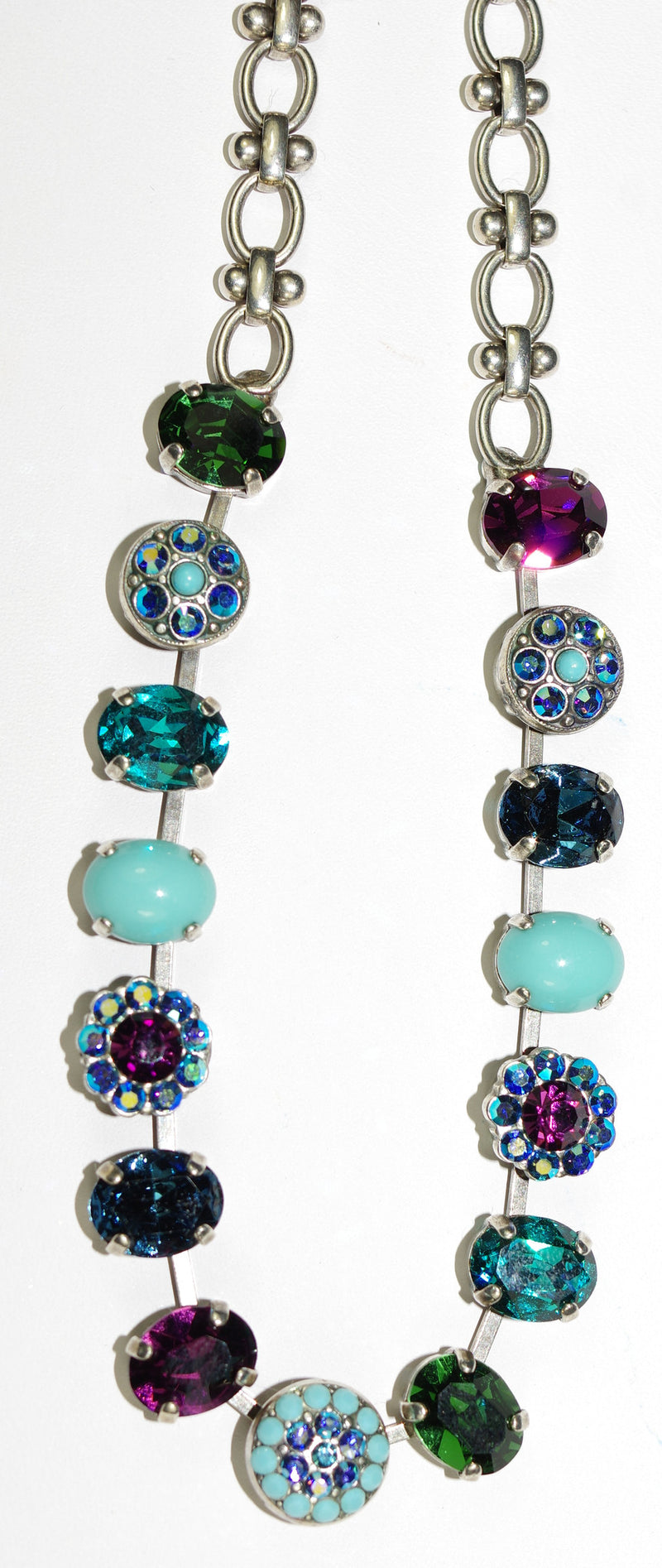 "MARIANA NECKLACE INSPIRE: blue, purple, turq, green stones in silver setting, 20"" adjustable chain"