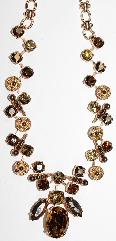 "MARIANA NECKLACE DANCING MOONLIGHT: brown, amber, topaz stones in rose gold setting, 20"" adjustable chain"