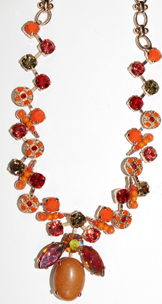 "MARIANA NECKLACE RING OF FIRE: orange, red, taupe stones in rose gold setting, 22"" adjustable chain"