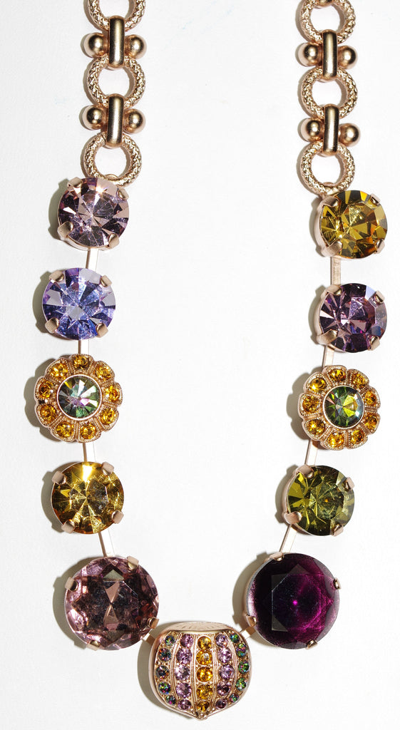 "MARIANA NECKLACE AUDREY: purple, lavender, amber, green stones in rose gold setting, 18"" adjustable chain"