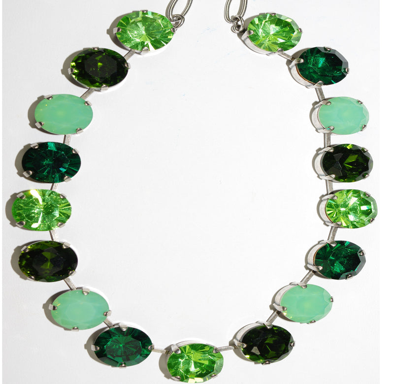 "MARIANA NECKLACE ANGELICA dark & light green, large 5/8 inch stones in silver setting, 16"" adjustable chain"