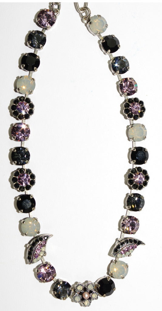 "MARIANA NECKLACE ROMANCE: pink, black, moon stones in silver setting, 17"" adjustable chain"