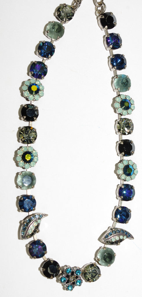"MARIANA NECKLACE GALAXY: blue, teal, taupe, pacific opal stones in silver setting, 17"" adjustable chain"