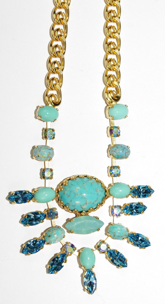 "MARIANA NECKLACE CINDY: blue, turq, pacific opal stones in yellow gold setting, 23"" adjustable chain"