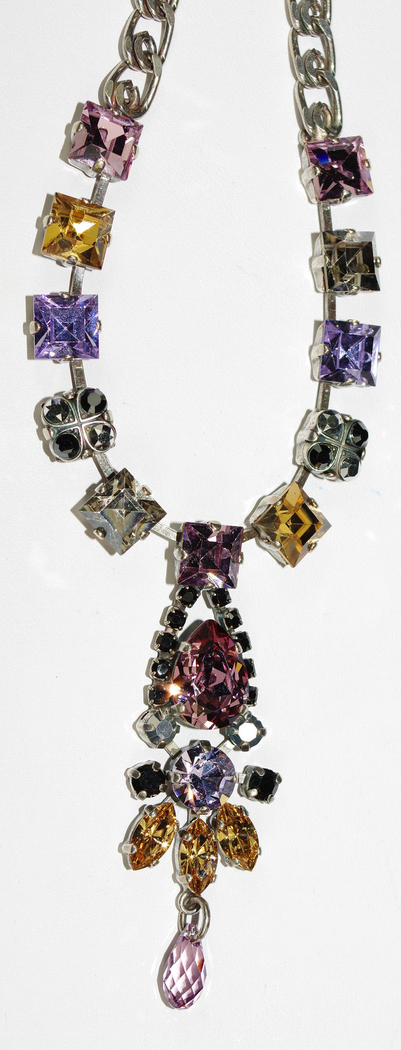 "MARIANA NECKLACE DISCOVER: pink, amber, lavender, black stones in silver setting, 24"" adjustable chain"