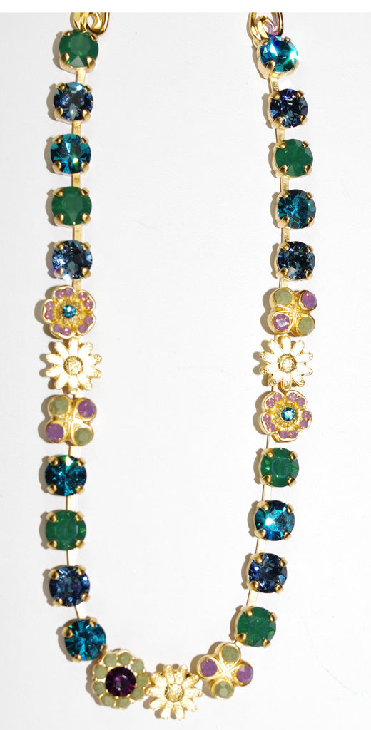 "MARIANA NECKLACE PATIENCE: blue, green, purple stones in yellow gold setting, 20"" adjustable chain"