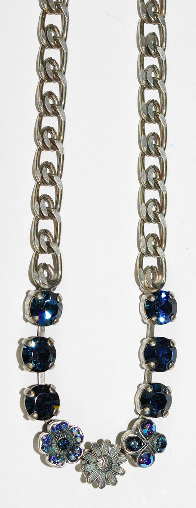 "MARIANA NECKLACE TRANQUILITY: blue, a/b stones in silver setting, 21"" adjustable chain"