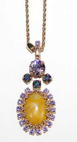 "MARIANA PENDANT AUDREY: purple, teal, lavender stones in rose gold setting, 20"" adjustable chain"