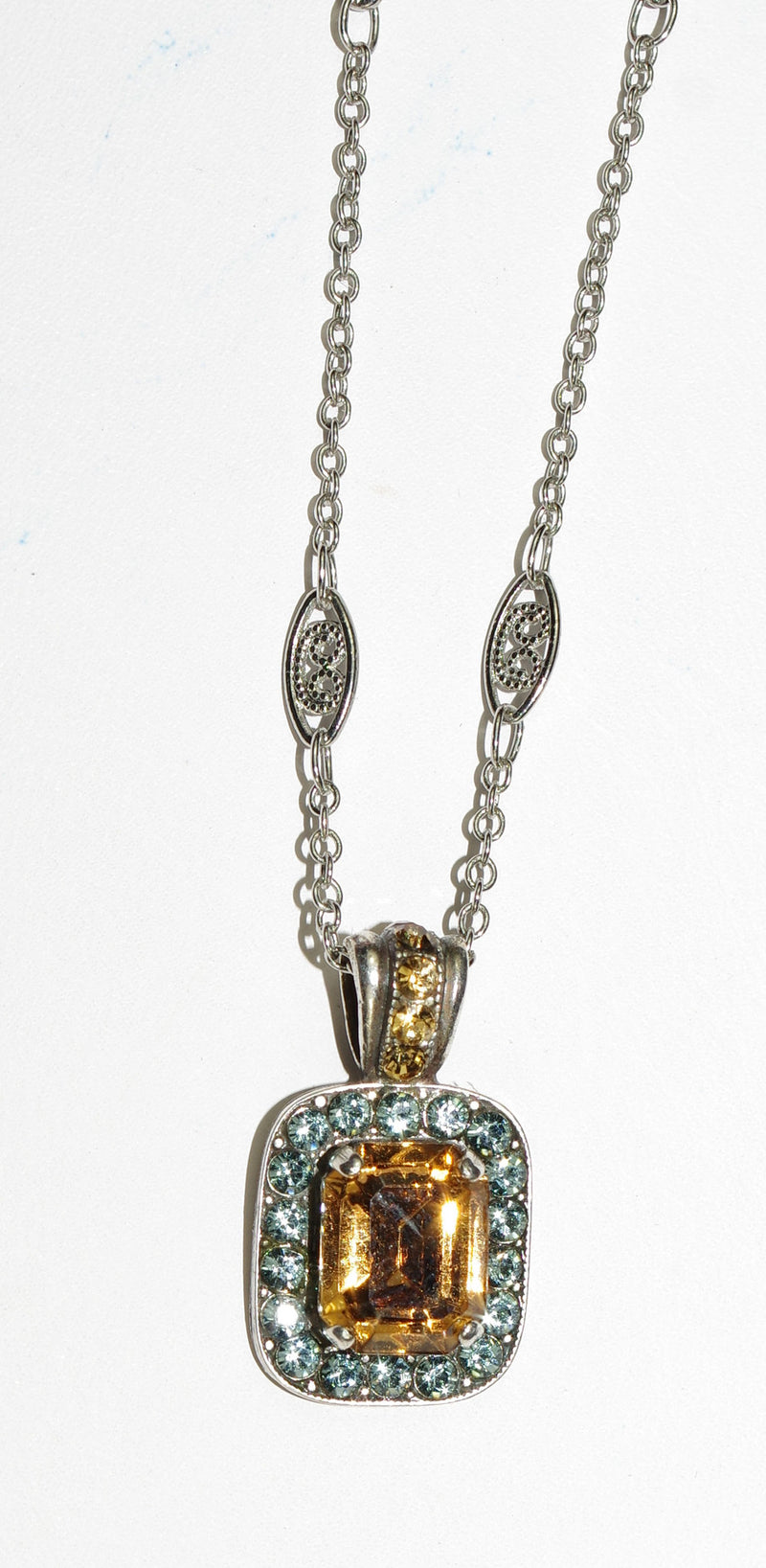 "MARIANA PENDANT MOON DROPS amber stone with topaz small stones, 18"" chain in silver setting"