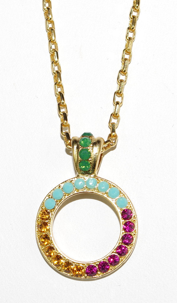 "MARIANA PENDANT HAPPY DAYS: pink, amber, turg, blue stones in yellow gold setting, 20"" adjustable chain"